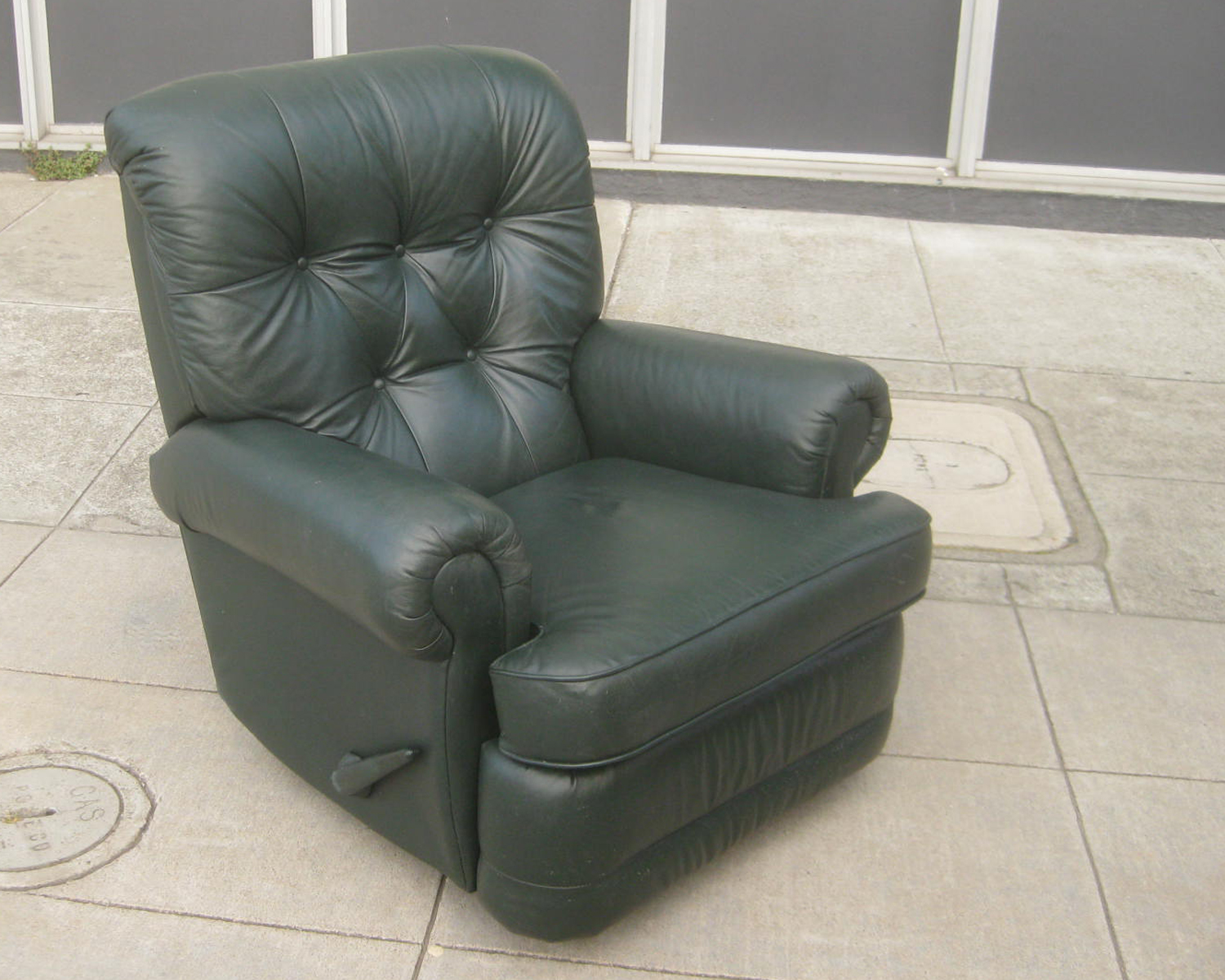 pop up recliner chairs white side uhuru furniture & collectibles: sold - forest green leather rocking $125