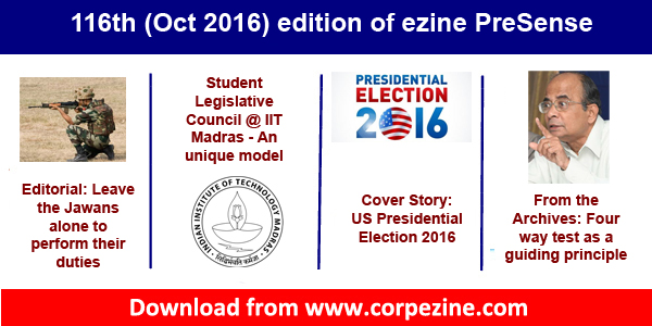 116th (Oct 2016) edition of ezine PreSense: Editorial on respecting Jawans + Cover Story on US Elections + SLC @ IIT Madras + Prince100 launch + many more