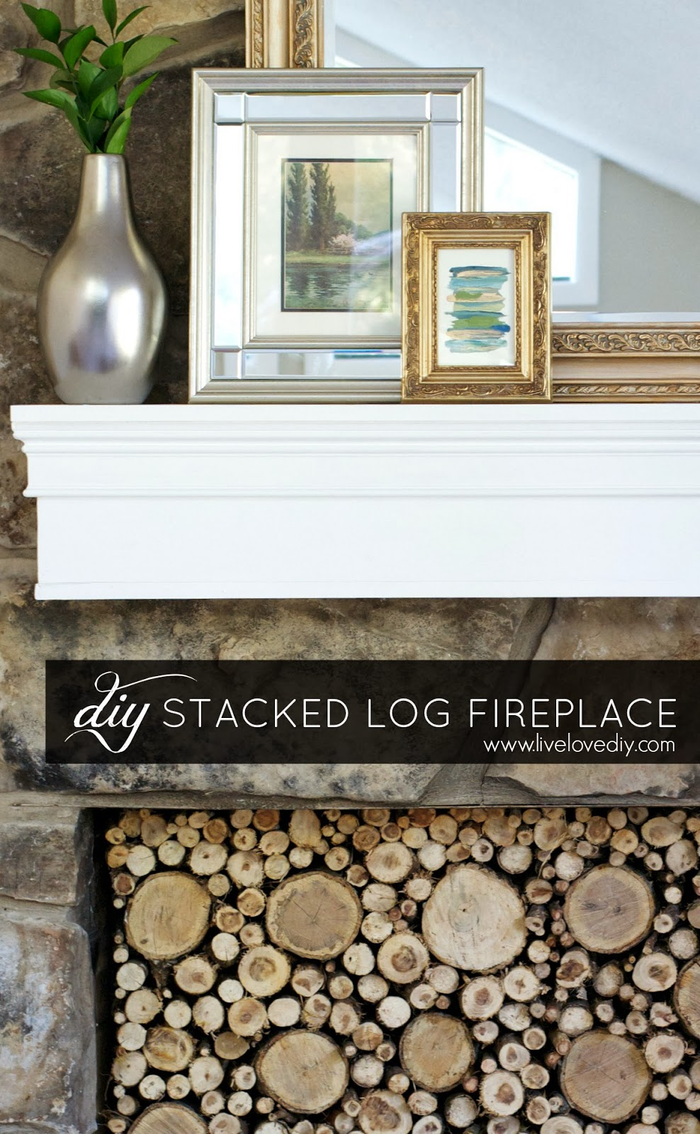 LiveLoveDIY: Faux Stacked Log Fireplace Tutorial