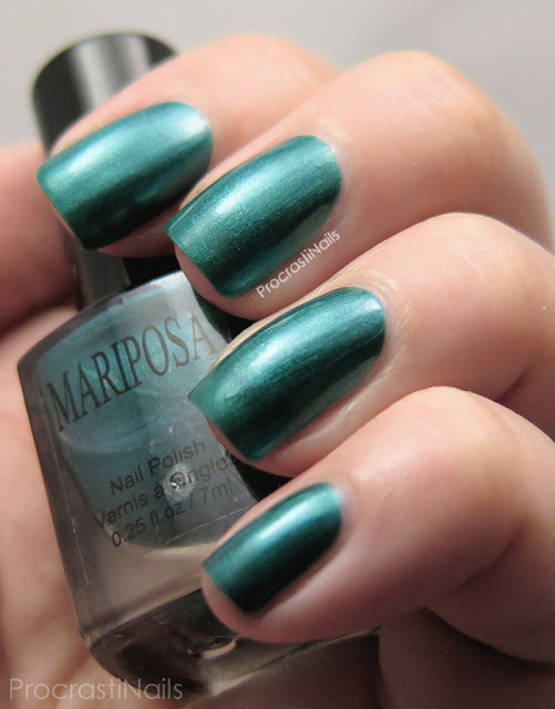 Swatch of Dollarama Mariposa Green Shimmer Nail Polish