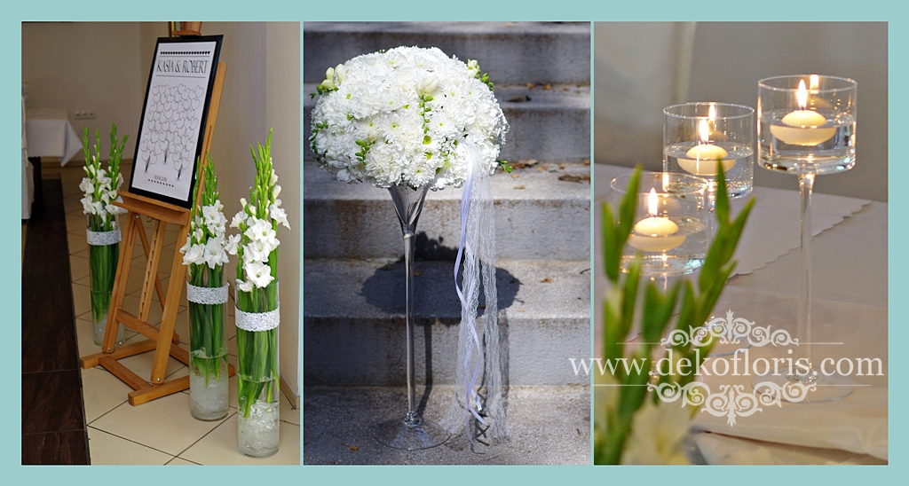 Biała dekoracja sali weselnej Jowisz Turawa