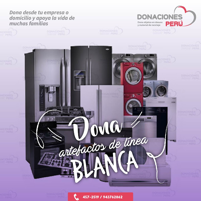 Artefactos- línea blanca - Refrigeradora - Lavadora - Cocina - Donar