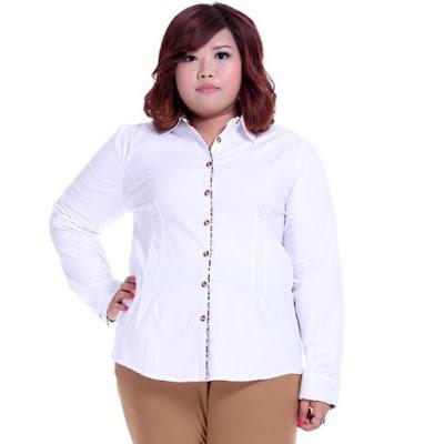 Model Kemeja Putih Wanita Gemuk Lengan Panjang Terbaru