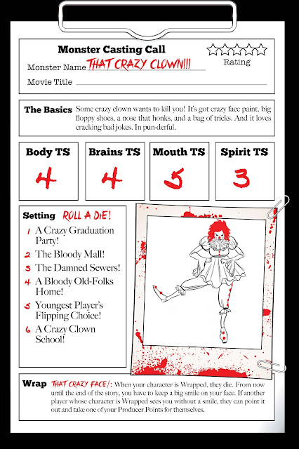 "A monster sheet for ""that crazy clown"" with various stats and an image"