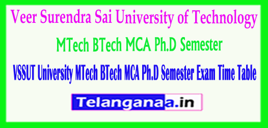VSSUT University MTech BTech MCA Ph.D Semester 2018 Exam Time Table