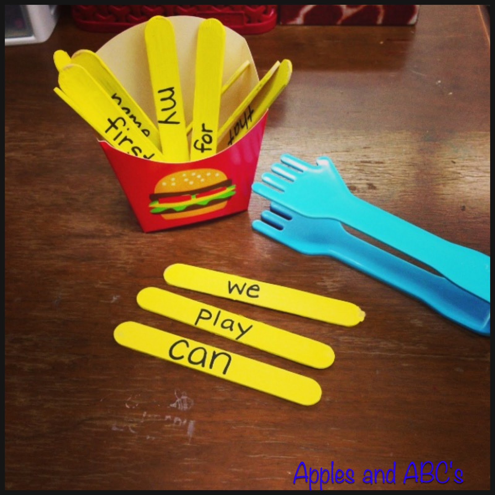 Freebielicious French Fry Sight Word Activity