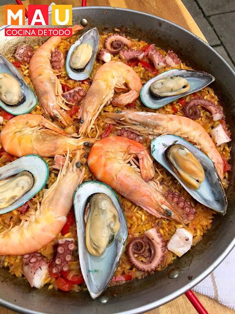 receta paella mariscos pescado valenciana mau cocina de todo