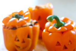 Easy Halloween Stuffed Peppers with Shredded Taco Chicken