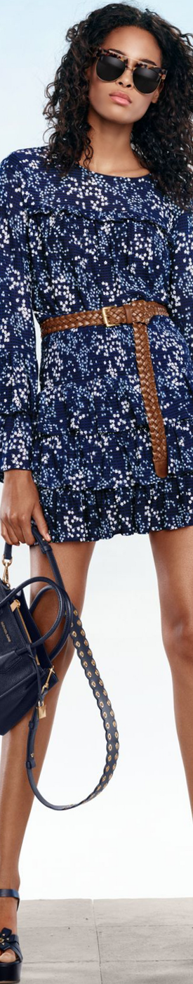 MICHAEL MICHAEL KORS Floral Ruffled Top and Floral Ruffled Skirt
