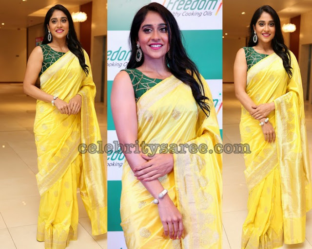 Regina in Lemon Yellow Benaras Saree