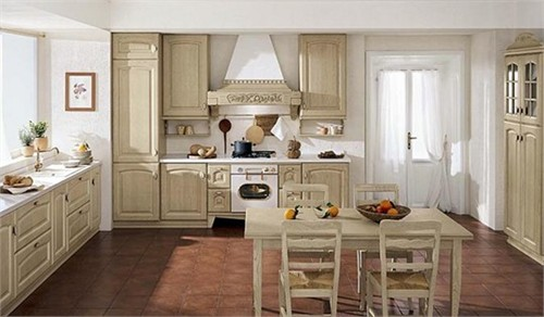large timeless kitchens with beige cabinets and white walls