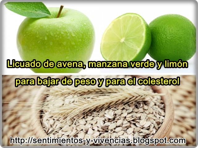 Licuado de manzana verde con avena y limon