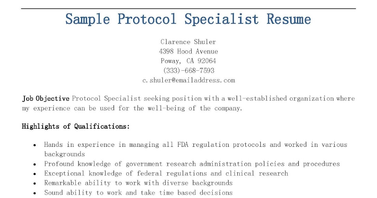 Protocol Specialist Sample Resume Loss Mitigation Specialist Sample - protocol specialist sample resume
