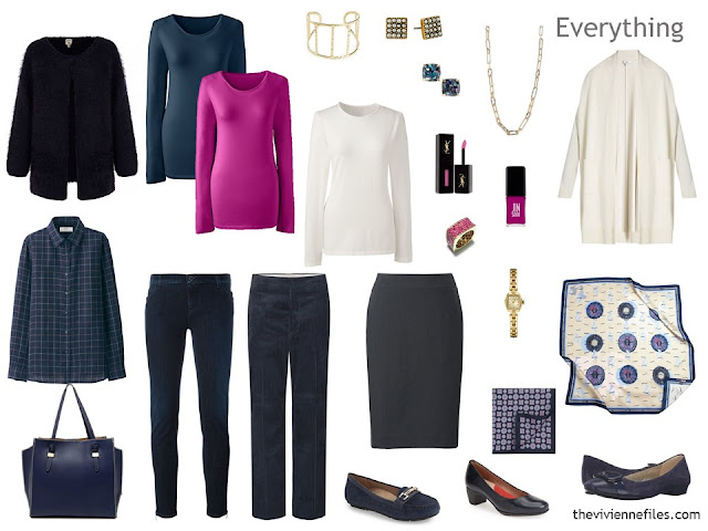 travel capsule wardrobe for cool weather, in navy, hot pink and ivory