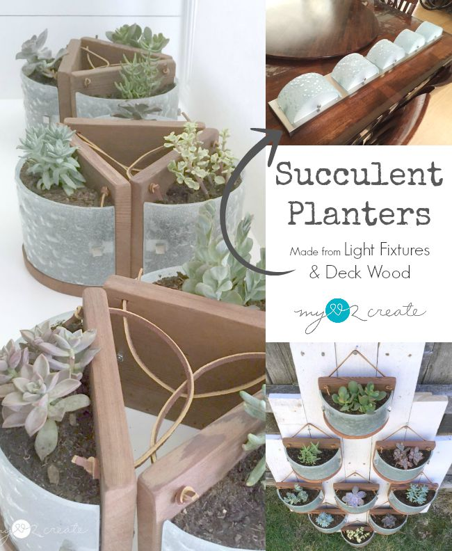 Don't throw out that light fixture, use the glass to create beautiful succulent planters for your home, full tutorial at MyLove2Create.