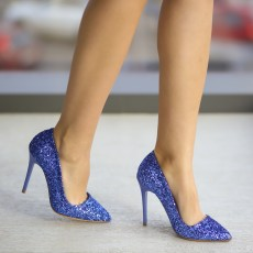 Pantofi albastri de ocazie cu toc cu gliter