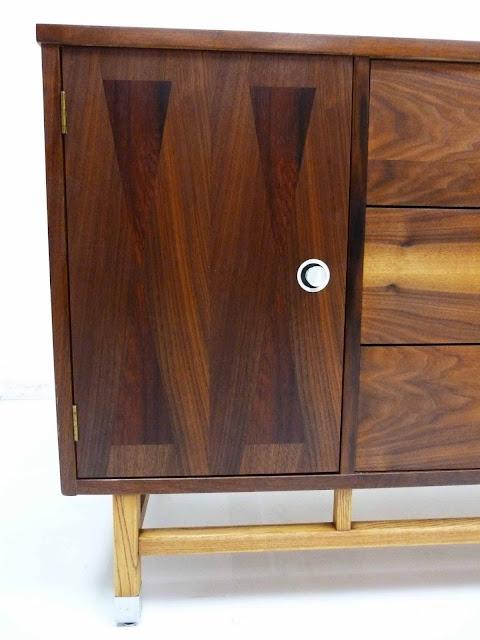 Stanley Mid-Century Walnut Rosewood Inlay Credenza Dresser Left Front