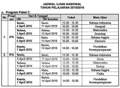 Jadwal UN Utama dan Susulan Program paket C  tahun 2016