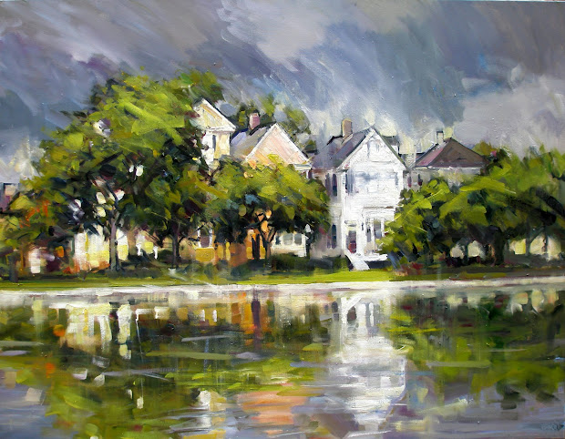 """Rick Reinert - """"studies In Sunlight And Rain"""" """"clouds Over Colonial Lake"""" Charleston Sc Painting"""