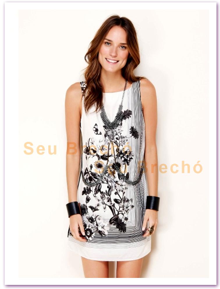 d38a57852 Vestido preto e branco Farm coleção Lola e Tom ------(( VENDIDO))