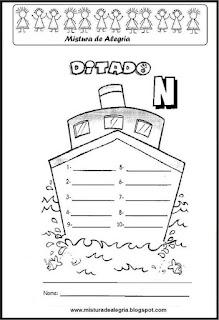 Treino ortográfico letra N de navio