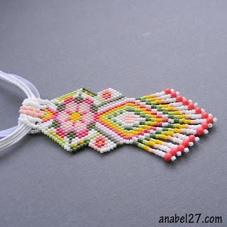 beaded pendant ethnic necklace beadwork beadwoven flower peyote
