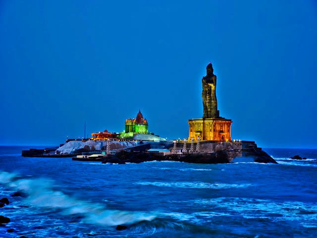 Night View of Thiruvalluvar Statue and Vivekananda Rock Memorial in Kanyakumari