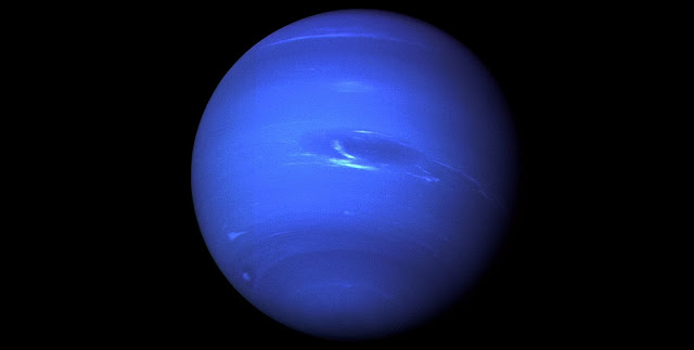 This picture of Neptune was produced from the last whole planet images taken through the green and orange filters on the Voyager 2 narrow angle camera. Credit: NASA