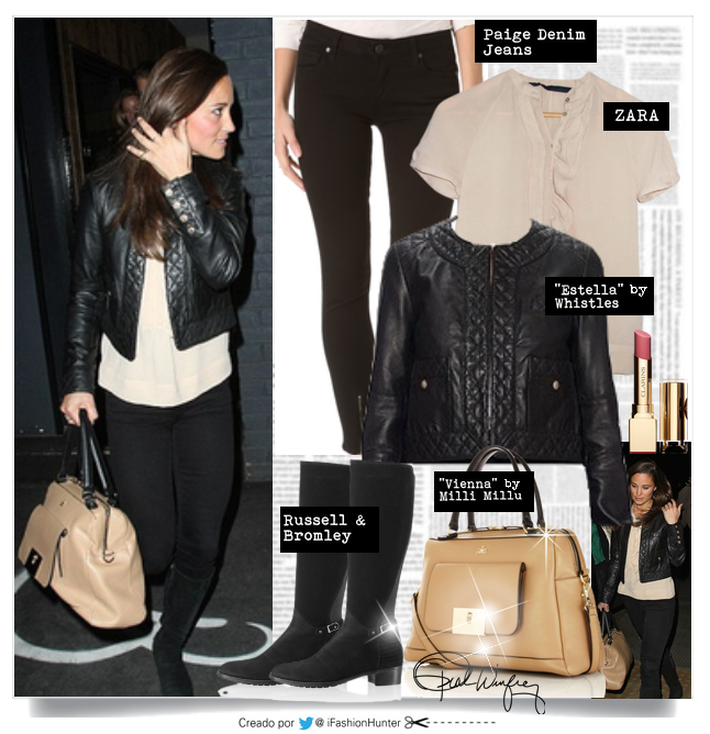 "PIPPA MIDDLETON LOOK   CHAQUETA: ""Estella"" Whistles  BOLSO: ""Vienna"" by Milli Millu  PANTALONES: ""Focus"" by Goldsign  BLUSA: by Zara"