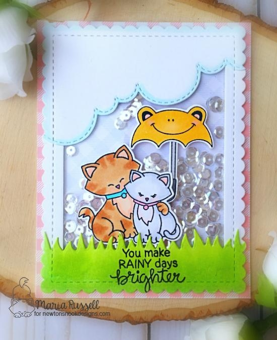 Umbrella Kitty Shaker Card by Maria Russell | Umbrella Pals and Newton's Sweetheart Stamp sets by Newton's Nook Designs #newtonsnook #handmade