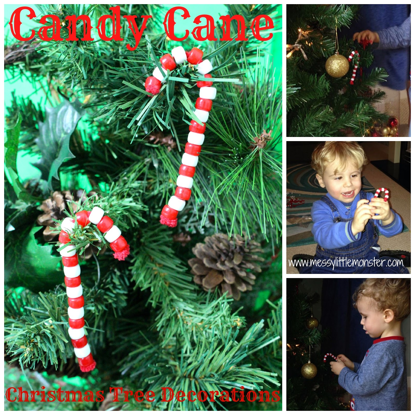 pony bead candy cane ornaments for toddlers
