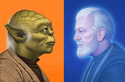 Star Wars Obi-Wan Kenobi & Yoda Pilot Portrait Prints by Mike Mitchell x Mondo