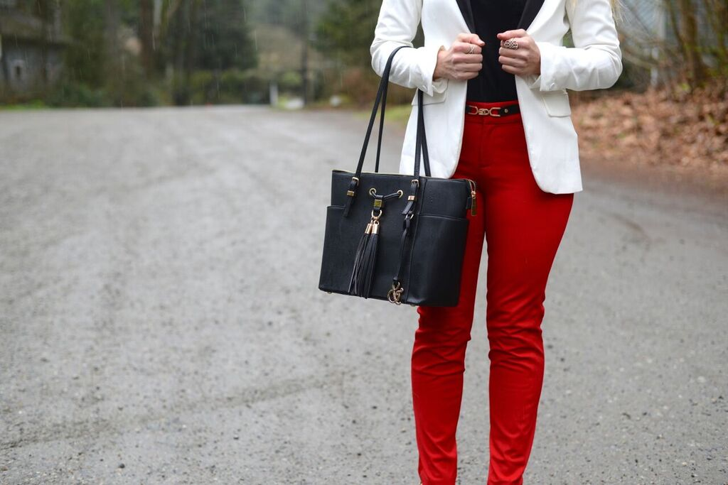 how to style red pants for the office