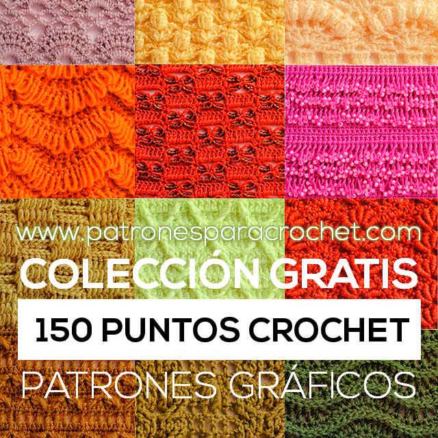150 Patrones de Puntos Crochet / PDF Gratis | Patrones para Crochet