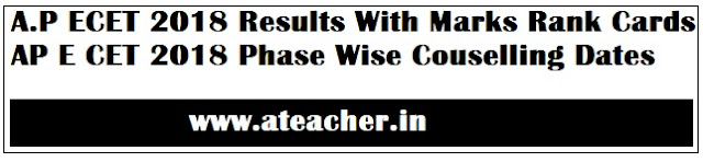 A.P ECET 2018 Results With Marks Rank Cards - AP E CET 2018 Phase Wise Couselling Dates