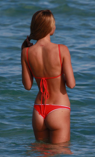 Lauren Ashley in Red Bikini at the beach in Miami