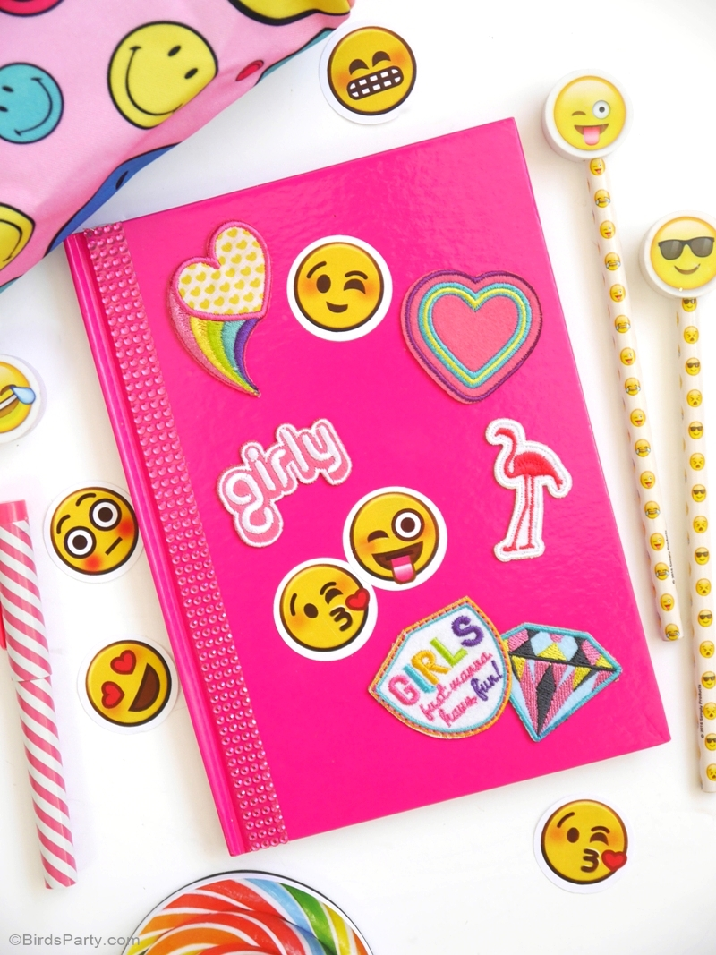 Emoji customized DIY notebooks for back to school | BirdsParty.com