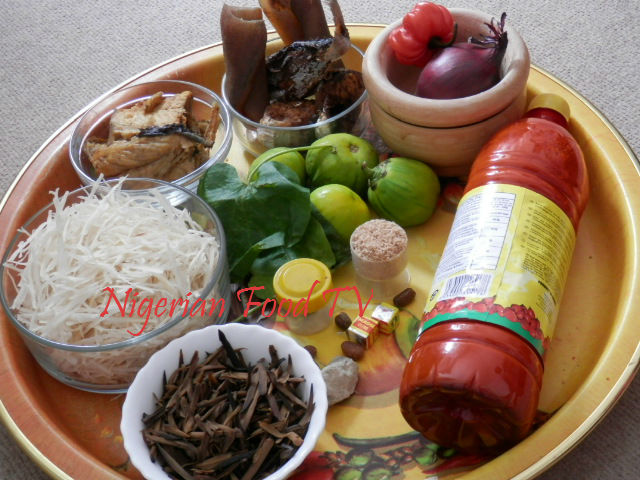 ingredients for African Salad, Abacha ncha and Ugba ukpaka (African Salad)