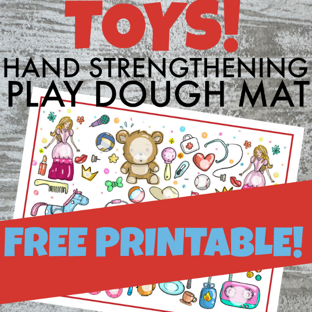 Kids will love this free playdough mat with a toy theme while building the hand strength and fine motor skills.