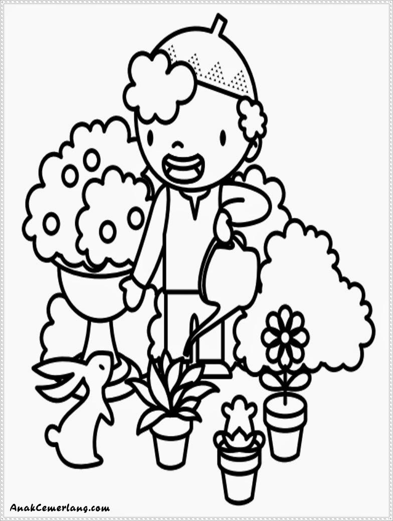 gambar mewarnai anak cemerlang membantu ibu menyiram bunga