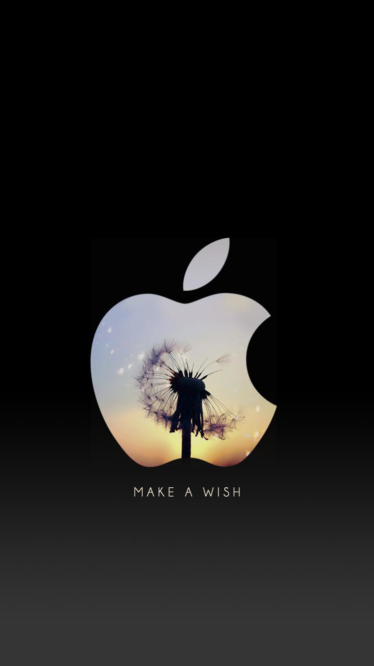 タンポポ 女の子向け お洒落なappleアップル ロゴ スマホ壁紙
