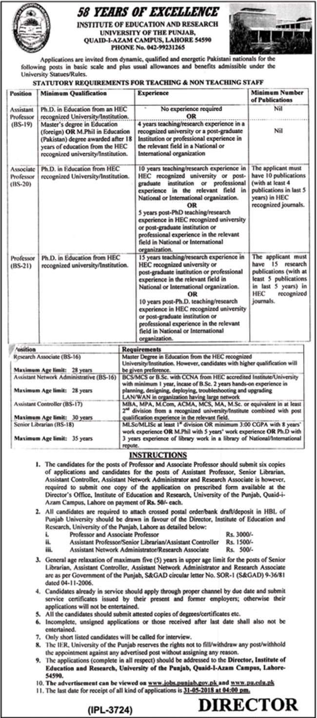 Jobs In PU University Of The Punjab March 2018 for Professor and others