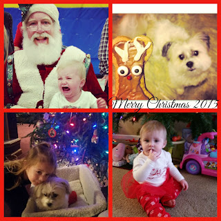 Santa, babies and our furry pup Buffy