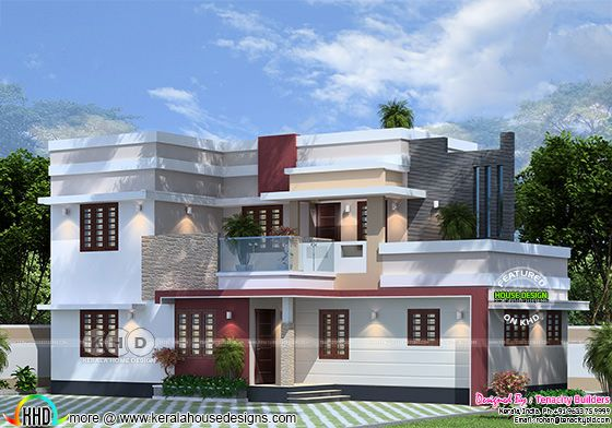 Upcoming flat roof house at Aluva