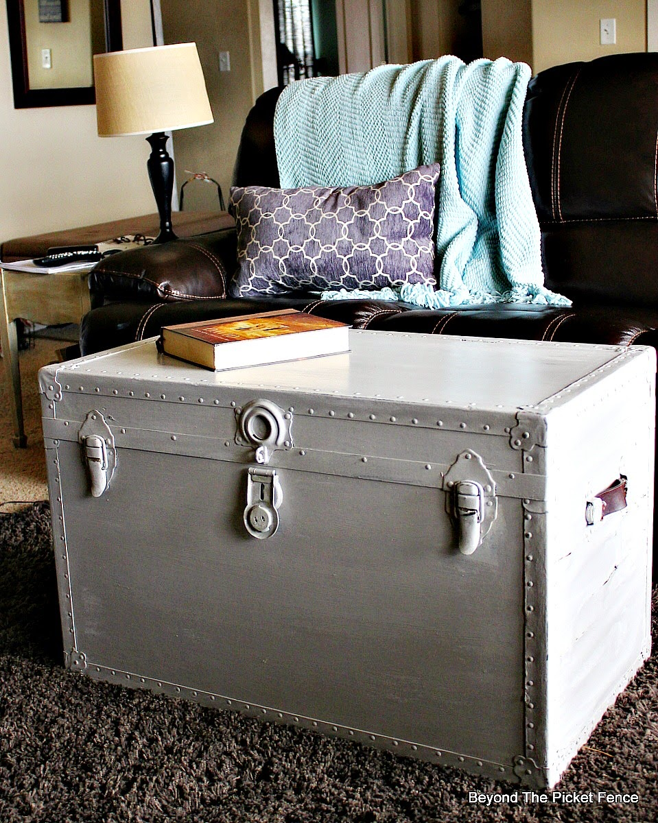 Transforming furniture with paint, milk paint, old trunk http://bec4-beyondthepicketfence.blogspot.com/2015/02/trunk-transformation-saving-old-trunk.html