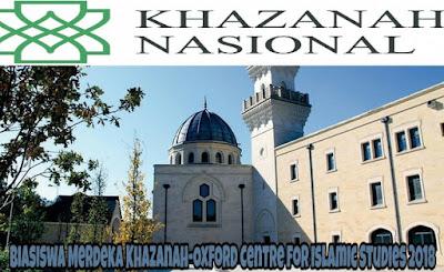 Biasiswa Merdeka Khazanah-Oxford Centre for Islamic Studies 2018 Online