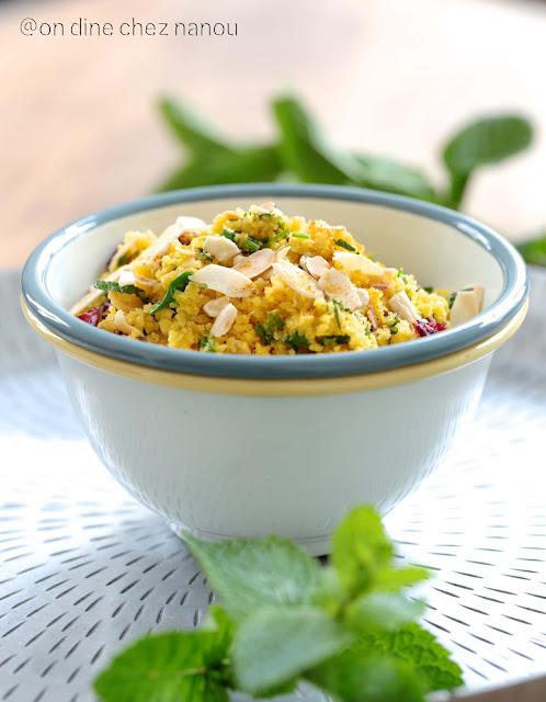 taboulé végetal , chou fleur orangé , curry , grillades