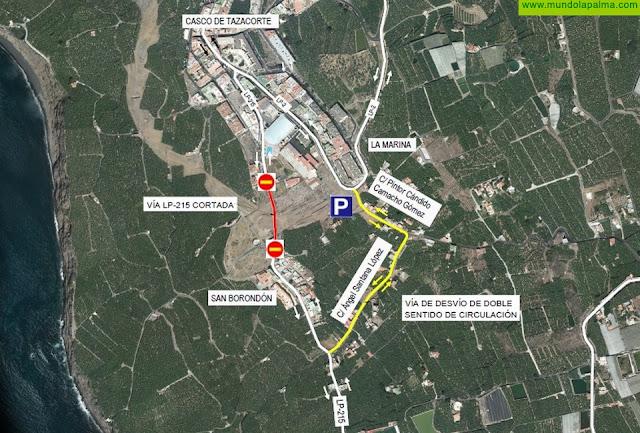 La Consejería informa del cierre provisional de un tramo de la carretera LP-125 para avanzar en los trabajos del nuevo acceso al Puerto de Tazacorte