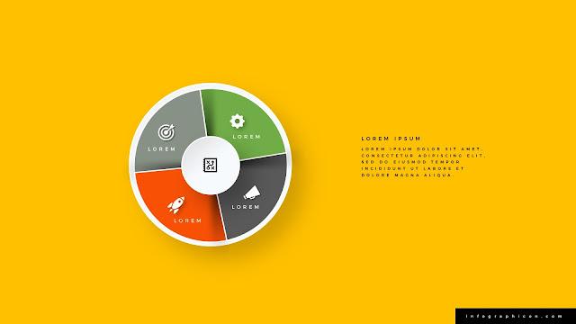 Pie Chart Shape Circular Four Banner Options Slide Type A