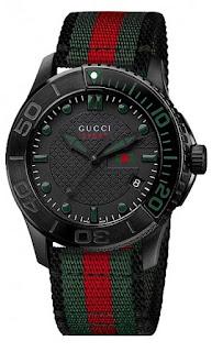 Gucci Men's YA126229 G-Timeless Dive Black Dial Nylon Strap